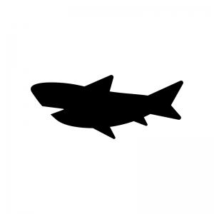 サメの白黒シルエットイラスト02