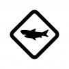 サメに注意の白黒シルエットイラスト