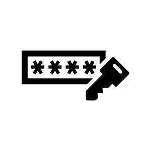 パスワード入力の白黒シルエットイラスト02