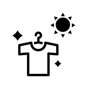 洗濯日和の白黒シルエットイラスト