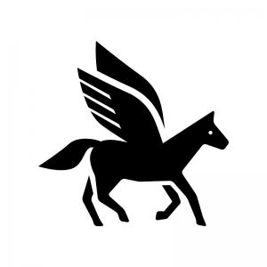ペガサスの白黒シルエットイラスト02