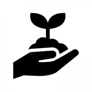 手で苗植えの白黒シルエットイラスト