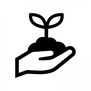 手で苗植えの白黒シルエットイラスト02