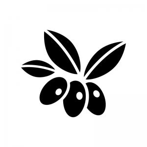 オリーブの実の白黒シルエットイラスト