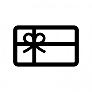 ギフトカードの白黒シルエットイラスト02