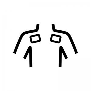 肩に湿布の白黒シルエットイラスト