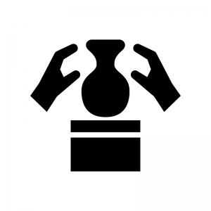 陶芸の白黒シルエットイラスト02