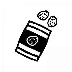 スナック菓子の白黒シルエットイラスト