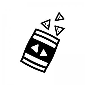 スナック菓子の白黒シルエットイラスト02