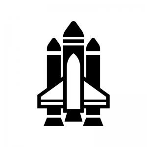 スペースシャトルの白黒シルエットイラスト