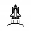 スペースシャトルの白黒シルエットイラスト02