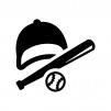 野球の白黒シルエットイラスト04