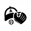 野球の白黒シルエットイラスト05