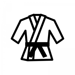 柔道着の白黒シルエットイラスト