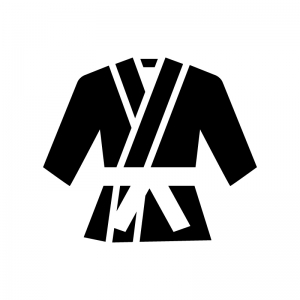 柔道着の白黒シルエットイラスト02