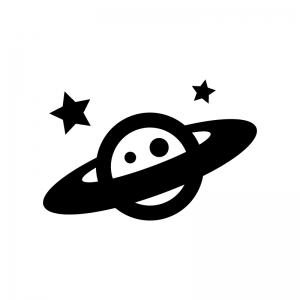 土星の白黒シルエットイラスト03