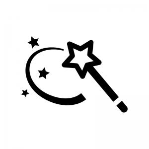 星の杖の白黒シルエットイラスト