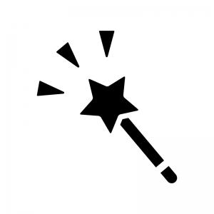 星の杖の白黒シルエットイラスト02