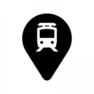 駅マーカーの白黒シルエットイラスト