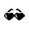 ハートのサングラスの白黒シルエットイラスト
