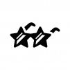 星のサングラスの白黒シルエットイラスト