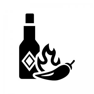 唐辛子とタバスコの白黒シルエットイラスト