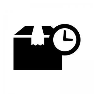 宅配の時間指定の白黒シルエットイラスト04