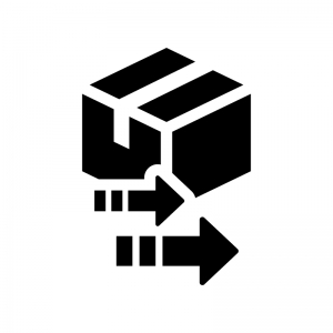 荷物の再配達の白黒シルエットイラスト02
