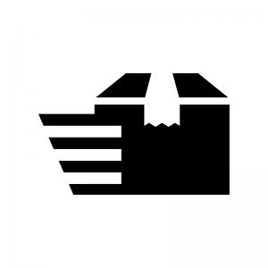 速達の荷物の白黒シルエットイラスト02