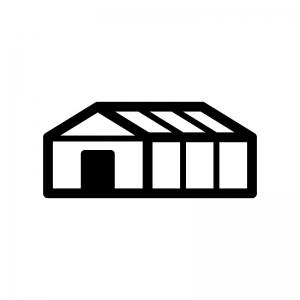 ビニールハウスの白黒シルエットイラスト