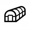 ビニールハウスの白黒シルエットイラスト02