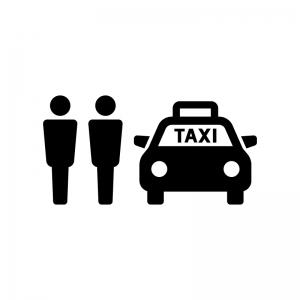 タクシー乗り場の白黒シルエットイラスト