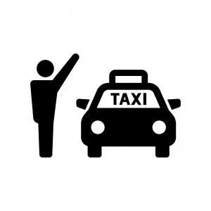タクシー乗り場の白黒シルエットイラスト02