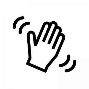 手を振る白黒シルエットイラスト