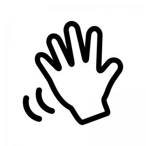 手を振る白黒シルエットイラスト02
