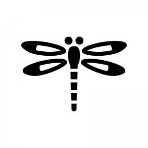 トンボの白黒シルエットイラスト03