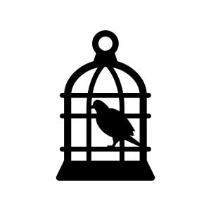 鳥かごに入った鳥の白黒シルエットイラスト