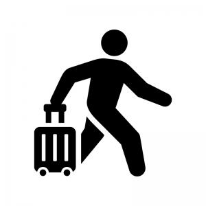 旅行・お出かけの白黒シルエットイラスト02