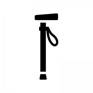 杖の白黒シルエットイラスト03