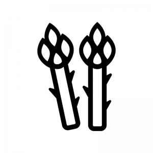 アスパラガスの白黒シルエットイラスト