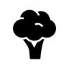 ブロッコリーの白黒シルエットイラスト02
