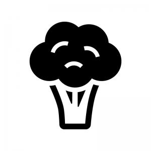 ブロッコリーの白黒シルエットイラスト03