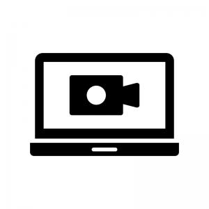 パソコンでビデオ通話の白黒シルエットイラスト