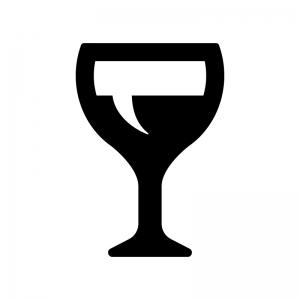 ワイングラスの白黒シルエットイラスト04