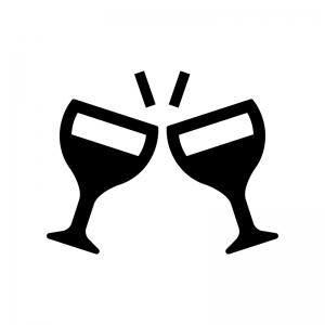 ワイングラスで乾杯の白黒シルエットイラスト02