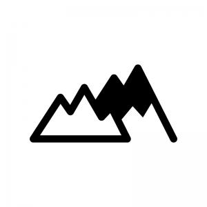 山の白黒シルエットイラスト02