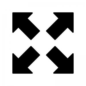 拡大の白黒シルエットイラスト