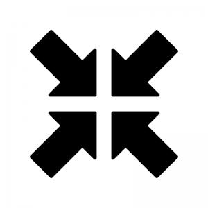縮小の白黒シルエットイラスト
