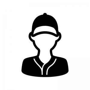 野球選手の白黒シルエットイラスト