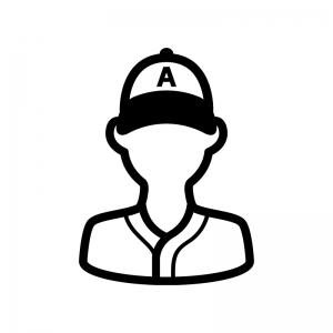 野球選手の白黒シルエットイラスト02